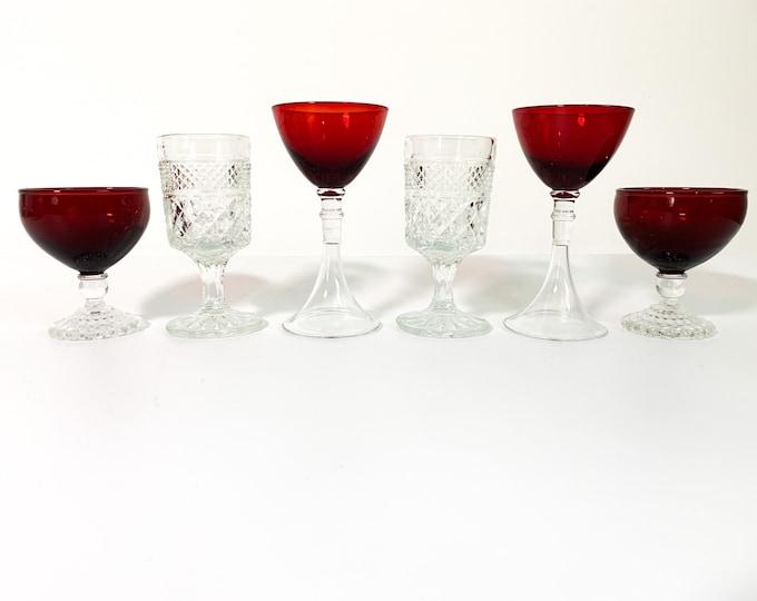 2nd Time Around Vintage Set 6 Red & Clear Cocktail Liquor Glasses -Unique Retro Collection Combination Barware Stemware Serving Entertaining