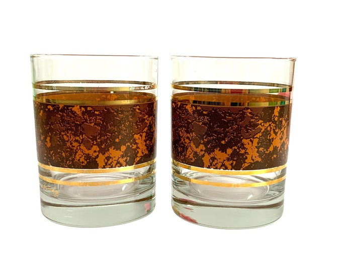 2 Mid Century Georges Briard Tortoise Band Double Old Fashioned Tumblers - Signed Vintage Gold & Brown Retro Kitchen Decor Serving Barware