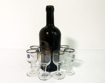 6 Vintage Platinum Rim Cordial Glasses - Europa Platinum Schott Zweisel Retro Cordials Germany in Original Box