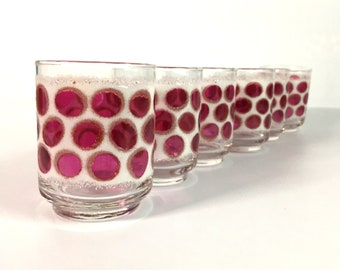 6 Vintage Mid Century Modern Conrad Cranberry Pink Dot Frosted Glasses - Six Juice Glasses Pink Polka Dot & White Frosted Clear Glass Libbey