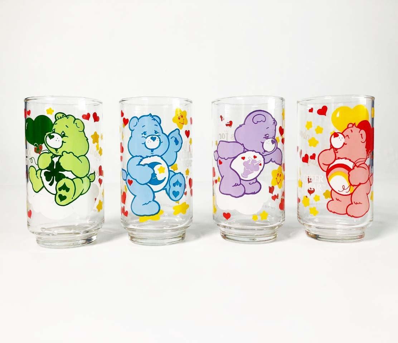 Care Bears Drinking Glasses Set Of 4 1986 Vintage