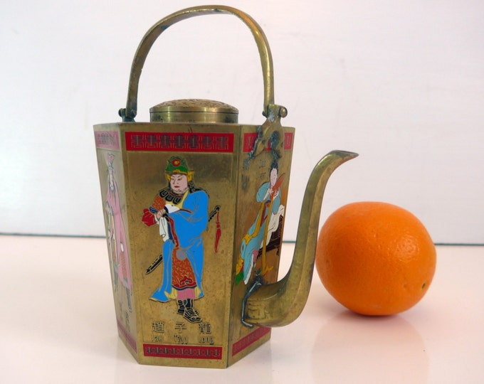 Teapot Vintage Brass Chinese Teapot Hexagonal Shape w/ Enameled Figures - Brass w/ Cloisonné Design Tea Pot Taiwan