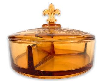 Fostoria Seville Candy Jar Amber Elegant Glass 3 Part Candy Dish Fleur De Lis & Etched Lid ca 1920s - 3 Sections RARE Collectible Home Decor