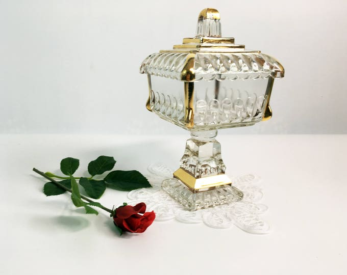 Jeanette Glass Jar Clear w/ Gold Wedding Cake Box - Candy Jar Compote w/ Lid - Pedestal Dish Square Panes - Square Glass Dish Circa 1950