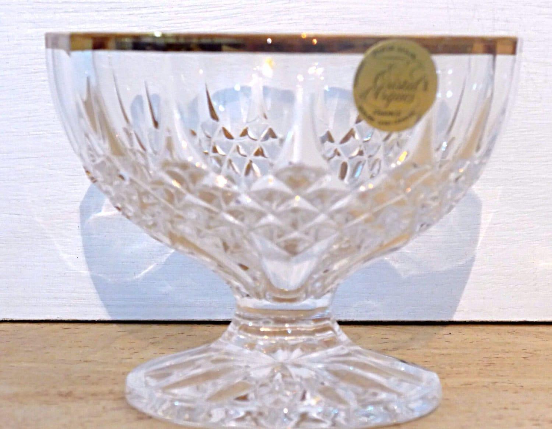 Cristal Darques France Genuine Lead Crystal Vase.Vintage Lead Crystal Glass Bowl With 24k Gold Trim Cristal D Arques