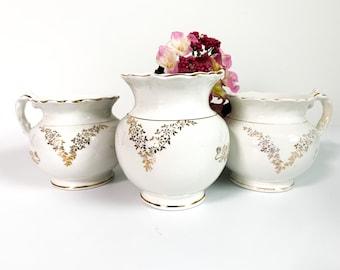 Antique KT&K Vitreous Set Jar and Pitchers Toilet Set - White w/ Gold Flower Design 3 pc Set - Shabby Chic Bathroom Decor