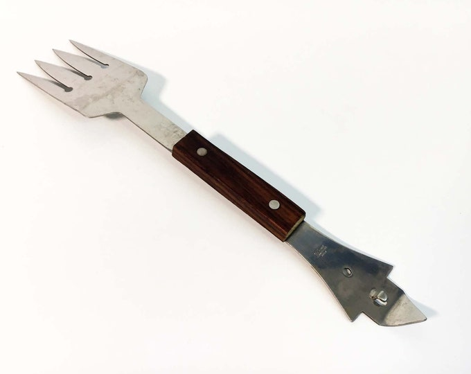 Vernco Vintage Barbecue Tool - Stainless Steel Japan with Wood Wooden Handle - Sharp Spatula with Can Punch Opener on the Other End