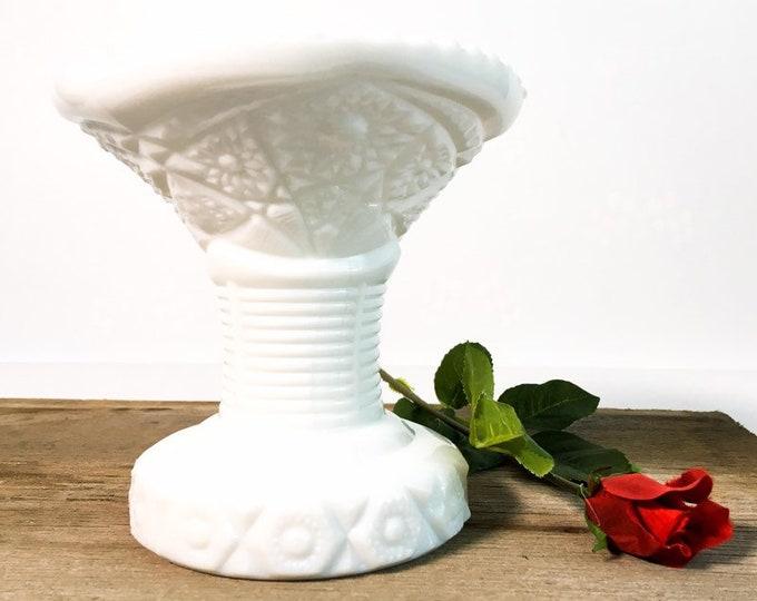 Vintage Milk Glass Pedestal Vase - Unique Retro Home Decor