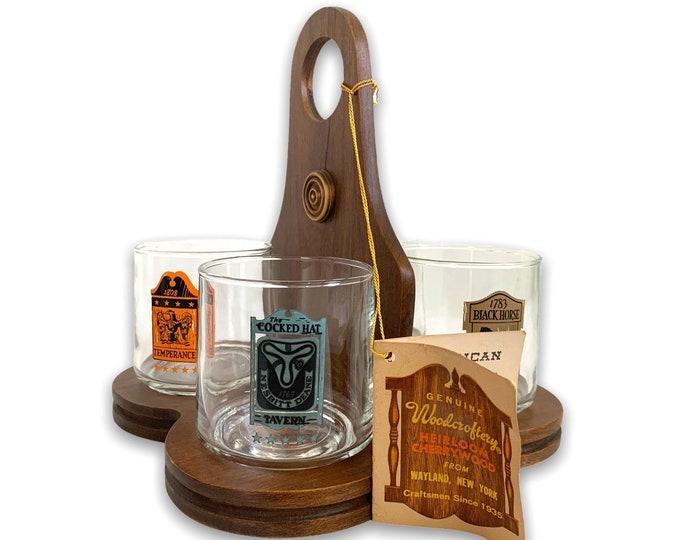 Vintage Woodcroftery Bar Glass Set - 4 Old Fashioned Rocks w/ Cherry Wood Holder - Retro Mid century Never Used Barware Pub Tavern Glasses