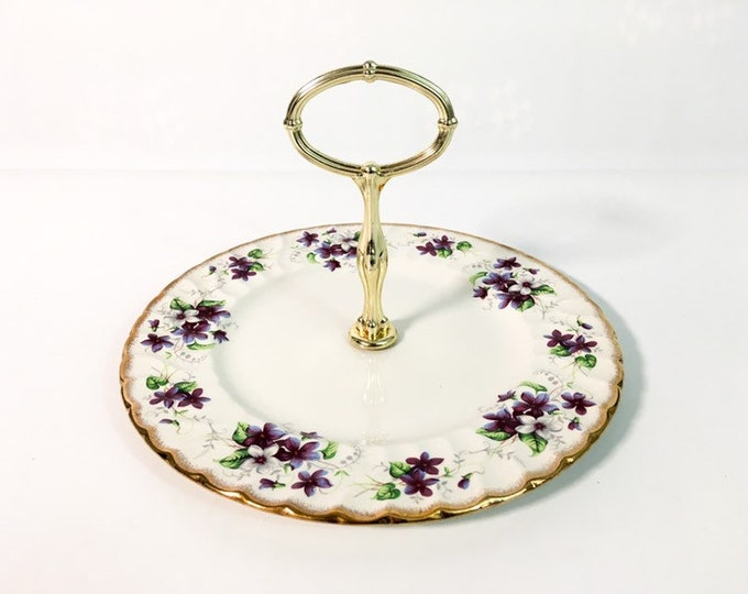 Vintage Stand Tidbit Tray - Staffordshire, English China H. Aynsley Wild Violets - Retro Centerpiece Display Tray Cupcake Holder Serving