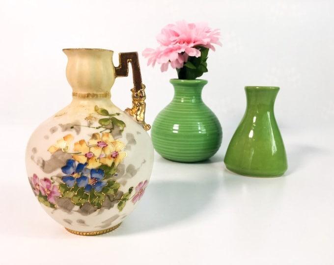 Antique HABSBOURG Austria Fine Porcelain Vase Pitcher - A. STELLMACHER Art Nouveau Pitcher / Ewer / Vase Wild Roses Flowers Small Home Decor