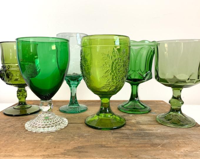 2nd Time Around Vintage Set 6 Green Goblets Water Glasses - Unique Retro Collection / Combination Barware Stemware