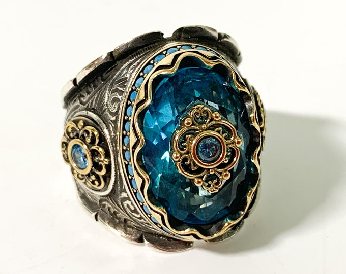 Vintage Sterling Silver & Aqua Colored Glass Statement Ring - Unique Estate Jewelry Large Ring Flower Floral Motif Gold Tone Accents Blue