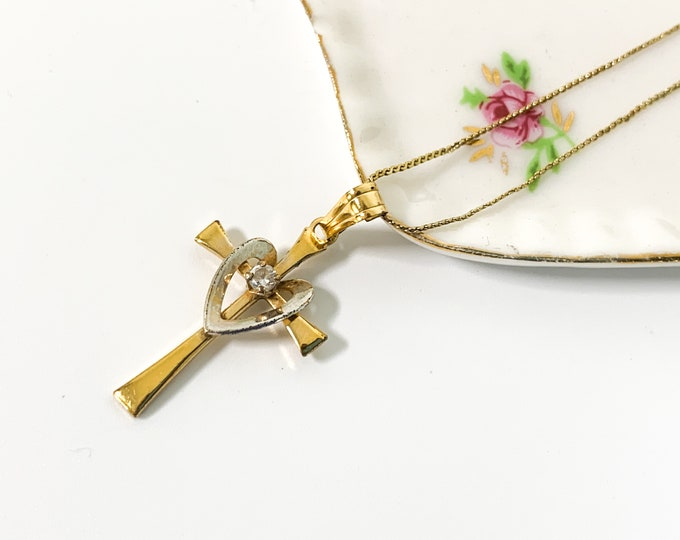 Vintage Gold Filled Cross Necklace w/ Faux Diamond 14K on GF Serpentine Chain - Retro Religious Christian Gift Girl Communion Confirmation