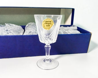 Vintage Set 6 Chantilly Combourg Cordial Glasses Taille Beaugency CRISTAL D'arques-Durand Clear Fan Cut Bowl Multi sided Stem Original Box