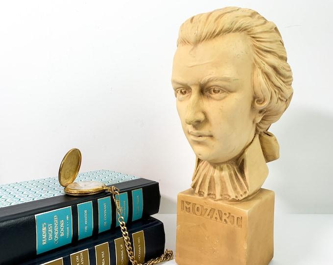 Vintage Bust of Motzart circa 1950s - Music Composer Retro Chic Music Composer Mid century Home Library Office Decor