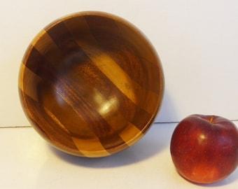 Vintage Danish Mid Century Modern Wooden Bowl - Small / Medium Sized Wood Bowl - Mid century Mod Two Toned Wood Bowl Home Decor