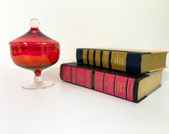 Vintage Red & Clear Glass Candy Jar w/ Lid and Clear Twisted Stem - Blown Glass Mid Century Retro Home Decor Display Giftware