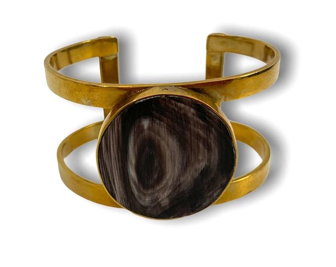 Vintage Gold tone / Brass Metal w/ Round Horn Inset - Openwork Cuff Bracelet  Retro Woman's Mod Mid century Jewelry