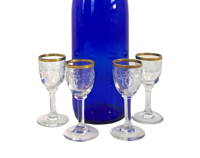 4 Vintage Gold Rimmed Cordial / Liquor Glasses w/ Garland & Bow Embossed on Bowls - Four Very Small Petite Retro Glassware Barware Stemware
