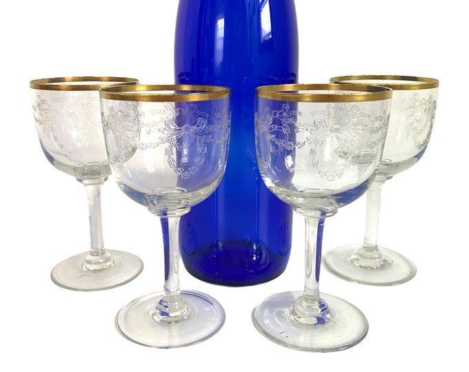 4 Vintage Gold Rimmed Wine / Cocktail Glasses  Glasses w/ Garland and Bow Embossed on Bowls - Four Retro Glassware Barware Stemware