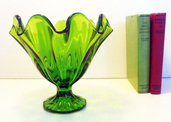Vintage Green L E Smith Glass Vase Art Glass Bowl Pedestal Etsy