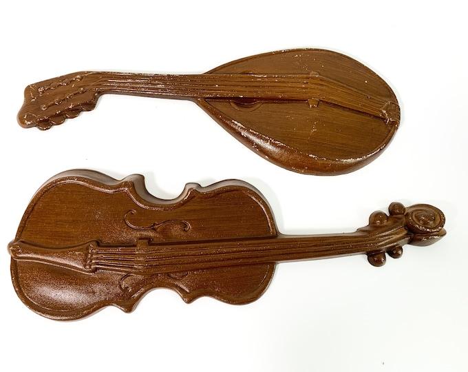 Vintage LARGE Pr Metal Musical Instrument Royal Wall Hangings - 2 Retro Mid century Mid Home Decor Violin & Mandolin
