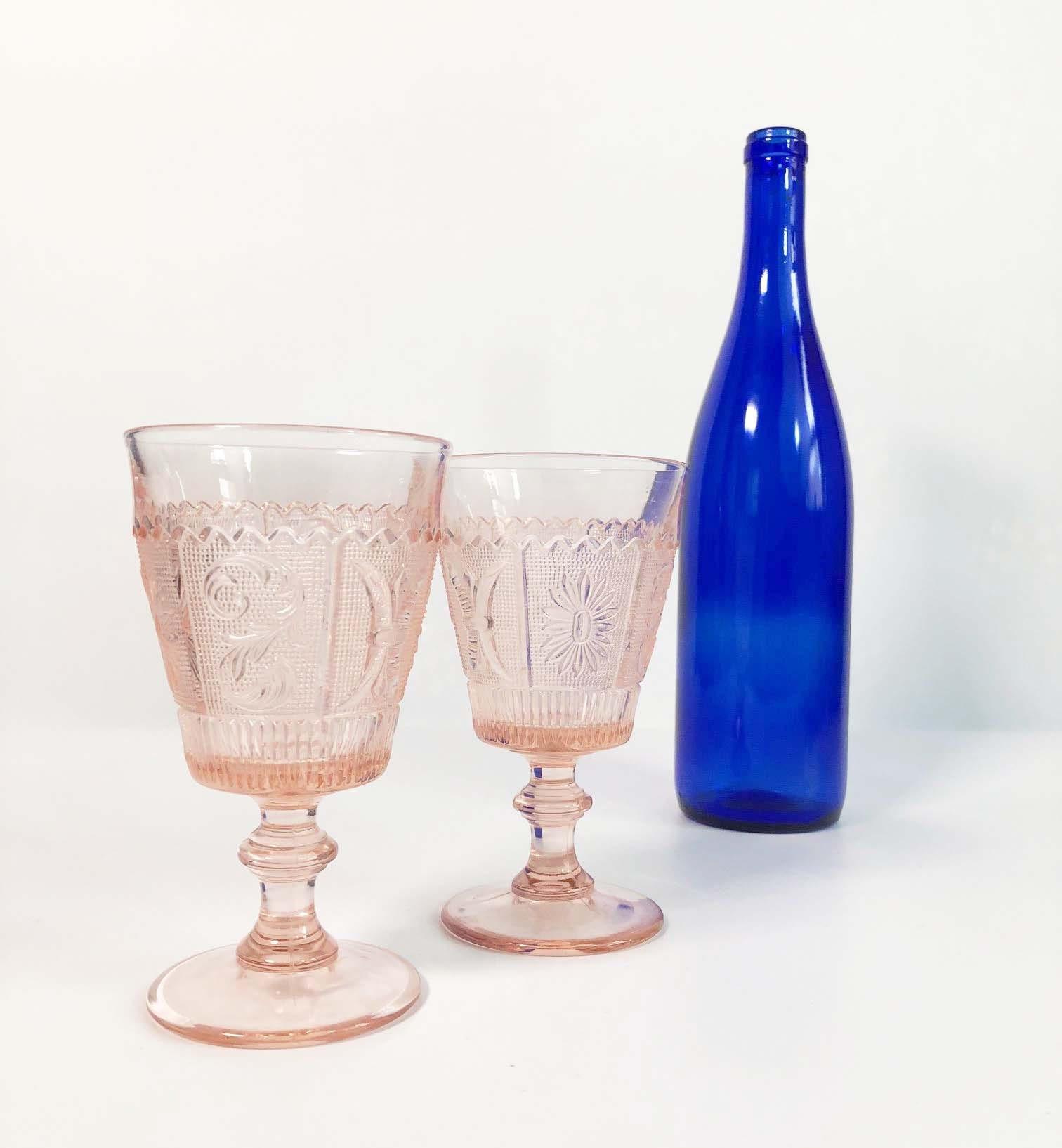 Blush Pink Wine Glasses Goblets Set Of 2 Panel Design Vintage Depression Glass Antique Glassware Eapg Early American Pressed Glass 1930s