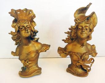 Pair Antique Art Nouveau Spelter Iffland Busts L'HIVER & L'ETE Franz Iffland C 1890 Pair Art Nouveau Statues Winter and Summer German Artist