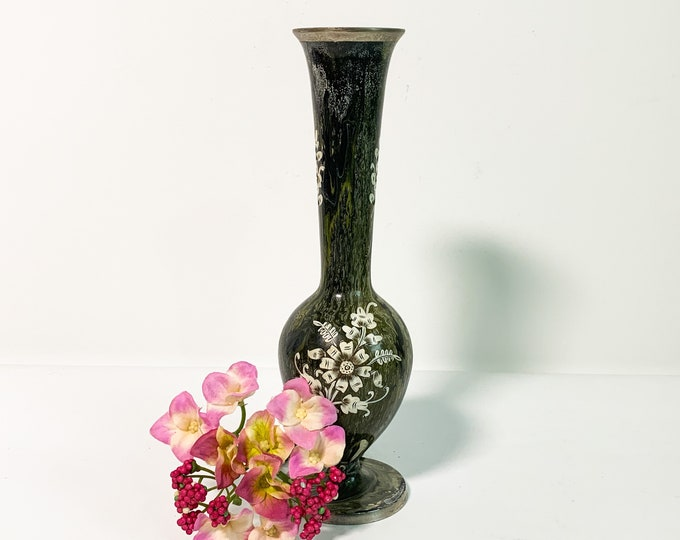 Vintage Enamel over Metal Vase - Green Swirl Base w/ White Flower - Retro Boho Home Decor Avocado Green White Multi Color Design w/ Florals