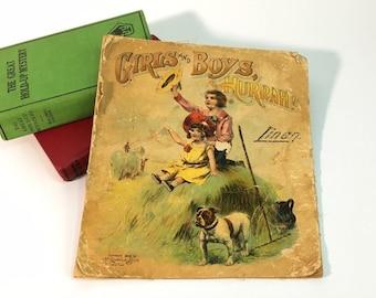 Antique Linen 1906 Book Girls and Boys Hurrah - McLaughlin Bros Soft Cover Linen Book - Vintage