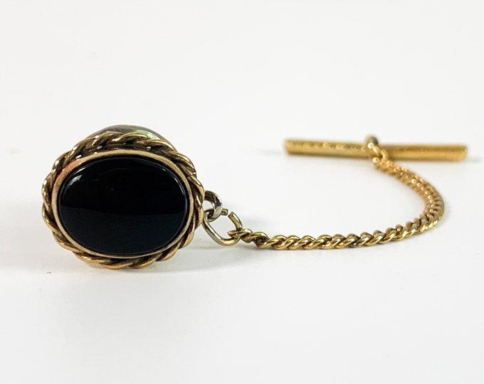 Vintage WEH HAYWARD Hallmarked Mens Tie Tack w/ Black Oval - Retro Men Accessory - Gift for Boy Man