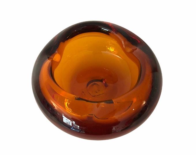 Amber Art Glass Ashtray - Hand blown Vintage Dark Amber Retro Ashtray Circa 1960s - Round Bowl Mid century Modern Mod Trinket Dish