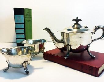 Sheffield Silver Plate English Tea Set - Tea pot Creamer Sugar Bowl Scalloped Edges - Vintage 3 Piece TEA SERVICE Teapot or Coffeepot EPNS