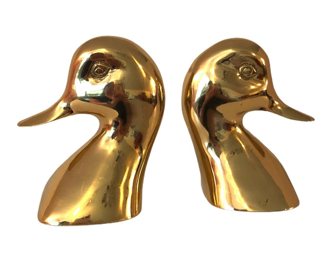 Brass Duck Book Ends - Vintage Brass Bookends - Pair of Brass Ducks - 2 Vintage Brass Duck Head Bookends MCM Home Decor Office Library