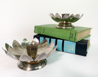 Vintage Pair Candlestick Holders - Lotus Flower Shape Silverplate Floral Design - 2 Retro Home Decor  Silver Plate Candle Holders