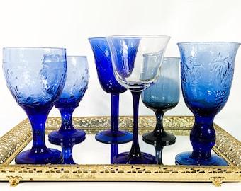 2nd Time Around Vintage Set 6 Blue Water Goblets Large Glasses - Unique Retro Collection Combination Stemware Drinkware