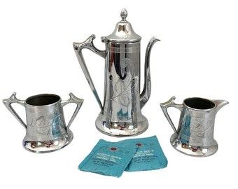 Antique TEA SERVICE Silver plate Etched Teapot Creamer & Sugar Vintage Sheffield Co #1111 - Flower Design Silverplate Tea / Coffee Pot 3 pc