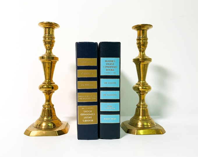 Pair Vintage Georgian Brass Candlesticks - Matching Set of 2 of Brass Candle Stick Holders - Tall Brass Candlesticks - Antique Home Decor
