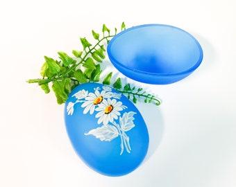 Vintage Westmoreland Blue Mist Glass Egg Shape Trinket Box with Daisies - Retro Bathroom Bedroom Home Decor - Daisy Decal Satin Glass