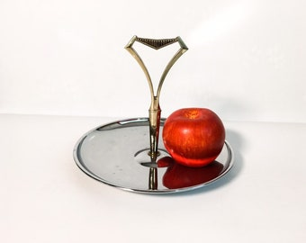 Vintage Kromex Chrome Tidbit Stand, Serving Tray Mid Century Modern - Small Stand/Dessert Pedestal with Brass Colored Atomic Handle