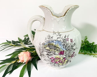 Portland Pottery Pitcher LARGE Antique White w/ Floral - Shabby Chic Cottage Farmhouse Decor Mill Stream - Antique Bedroom Bathroom Accent