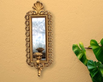 Vintage Mid Century Wall Sconce Mirror Dart Co Home Decor - Smoked Glass Candle Holder Gold Vertical Ornate Regency MCM 1972 Serial No 2352