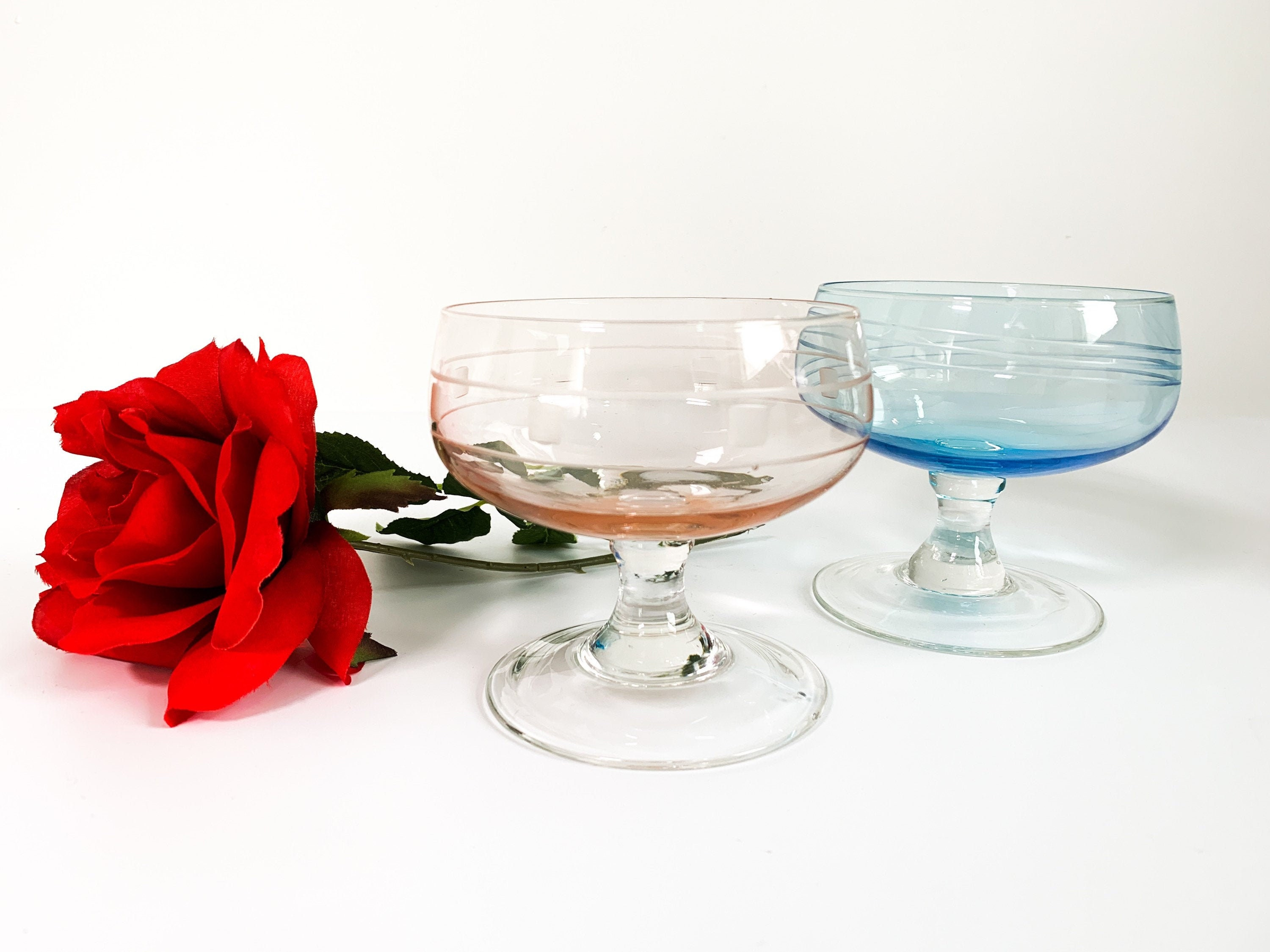 Pair Of Champagne Coupes Two Vintage His Hers Glasses 2 Blue And Pink Large Etched Bowl Clear Stem Glasses Etched Geometric On Bowls