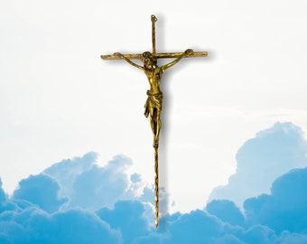 "Vintage Brass Cross  Hallmarked Retro Crucifix - Large 13"" - Signed Western Germany Religious Christian Catholic Wall Decor"