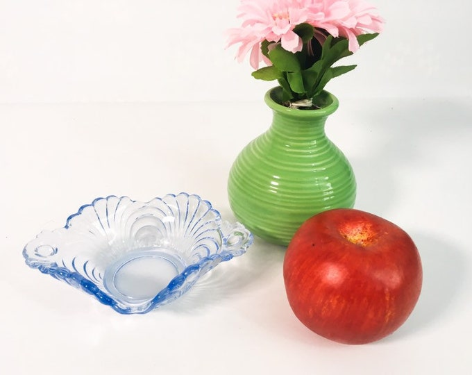 Vintage Cambridge Caprice Moonlight Blue Relish - Small Serving Dish Blue Glass Bowl 2 Swirl Design