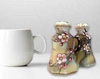 RARE Antique NIPPON Morimura Salt Pepper Set JAPAN Raised Gold Dots - ca 1910 - Green, Gold, Pink & White Blossoms Retro Vintage Collectible