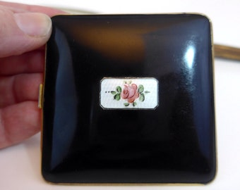 Compact Vintage Guilloche Bliss Brothers Compact 24K Gold Electro Plated - Black w/ Pink Rose - BB Company Black 22 K Gold Trim