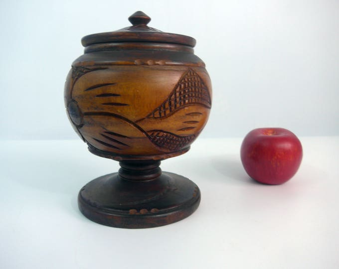 """Vintage Wood Pedestal Bowl - Home Decor Tall Wooden Bowl w/ Lid -  Carved Design 8"""" High Round Container w/ Wide Round Base - Home Decor"""