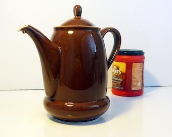 Vintage Rosenthal Coffee Pot Kronach Bavaria - Large Cocoa Brown Lidded Coffee Pot w/ White Interior - Mid century Rosenthal Coffee Pot